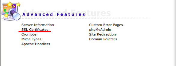 SSL Certificates menu item